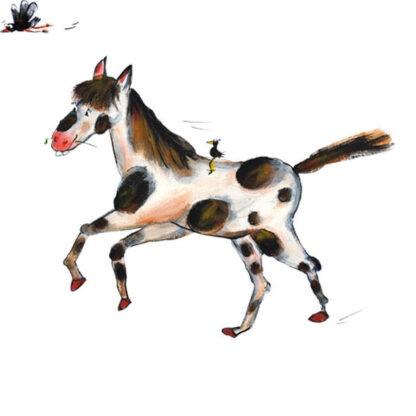 Gevlekt paardje, illustratie, acrylverf, fries en vrolijk