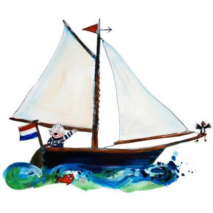 illustratie van zeilboot van atelier Pjut, Inge Adema