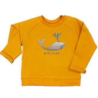 Oker sweater met walvis van biologisch katoen. Voor kinderen van 18 maanden tot 6 jaar. Illustratie van Inge Adema, atelier Pjut