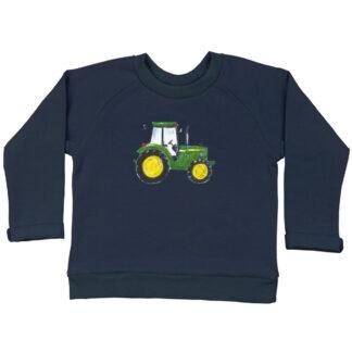 Sweater met John Deere voor kleine kinderen. Gemaakt van biologische katoen. De illustratie is van Inge Adema van atelier Pjut in Leeuwarden.