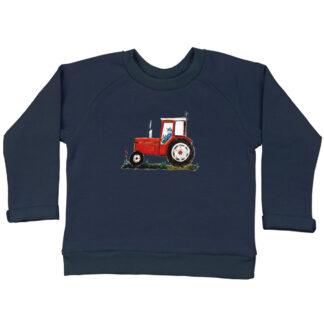 Sweatertje met rode tractor van illustratrice, Inge Adema