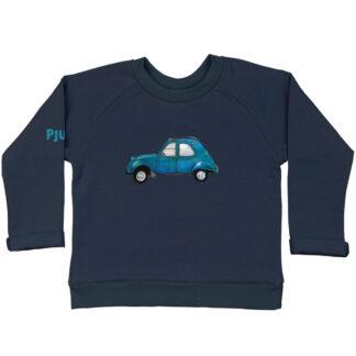 Blauwe sweater 2CV van biologisch GOTS katoen voor kinderen. De illustratie is van atelier Pjut in Leeuwarden