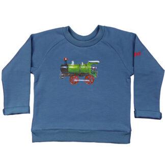 Sweater met locomotief van biologisch katoen. het sweatertje en de illustratie zijn gemaakt in Atelier Pjut in Leeuwarden
