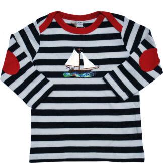 ztreepshirt nautisch kindershirt shirtje truitje pjut zeilboot piraat