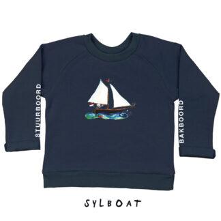 Sweater met zeilbootje voor kinderen van 18 maand tot 6 jaar. de illustratie is van Inge Adema van atelier Pjut.