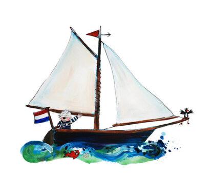 afbeelding zeilboot nautische zeilen varen piraat boefje watersportkleding kinderkleding