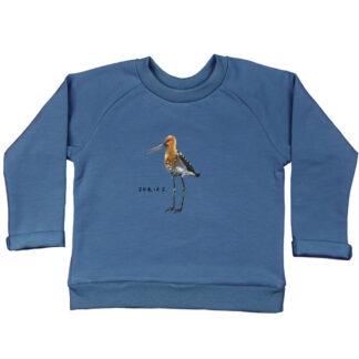 organic blauwe sweater grutto. Voor kinderen van nul tot zes jaar