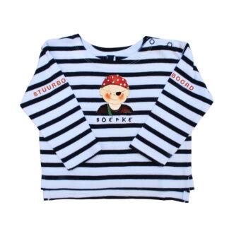 Nautisch streepshirt met piraatje voor je baby, peuter of kleuter.
