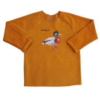 kindersweater met eend , jerkje in het fries. voor kinderen van nul tot zes jaar