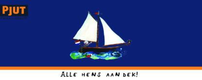 nautische kindercollectie met afbeeldingen van bootje, piraten en vissen