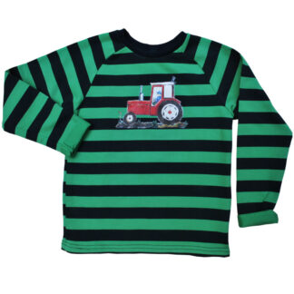 Gestreepte kindersweater rode tractor
