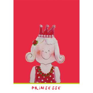 rose kinderkaart met illustratie van een prinses