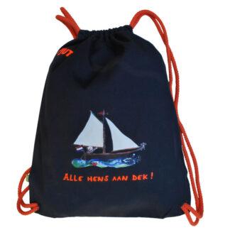 Navy gymtas met zeilboot. gemaakt van organic katoen.