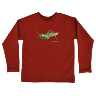 Roodbruine kindersweater met sprinkhaan. Gemaakt van biologisch katoen in Nederland