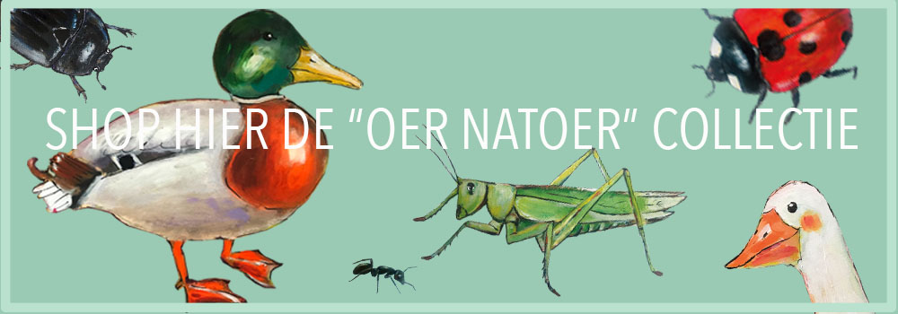 collectie kinderkleding oer natoer. biologische sweaters en tassen met insecten en vogels