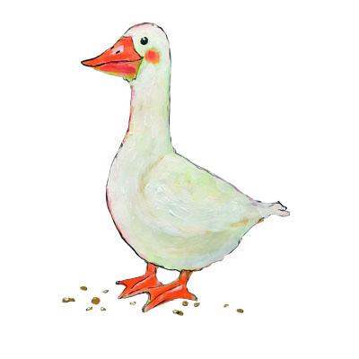 illustratie van gans (guos) uit collectie Oer natoer van Pjut kinderkleding
