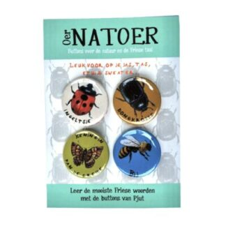 4 buttons met insecten