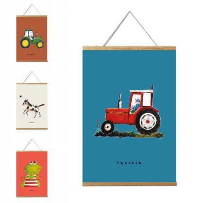 posters 20x30 met rode tractor, paardje, kikker en John Deere in lijst