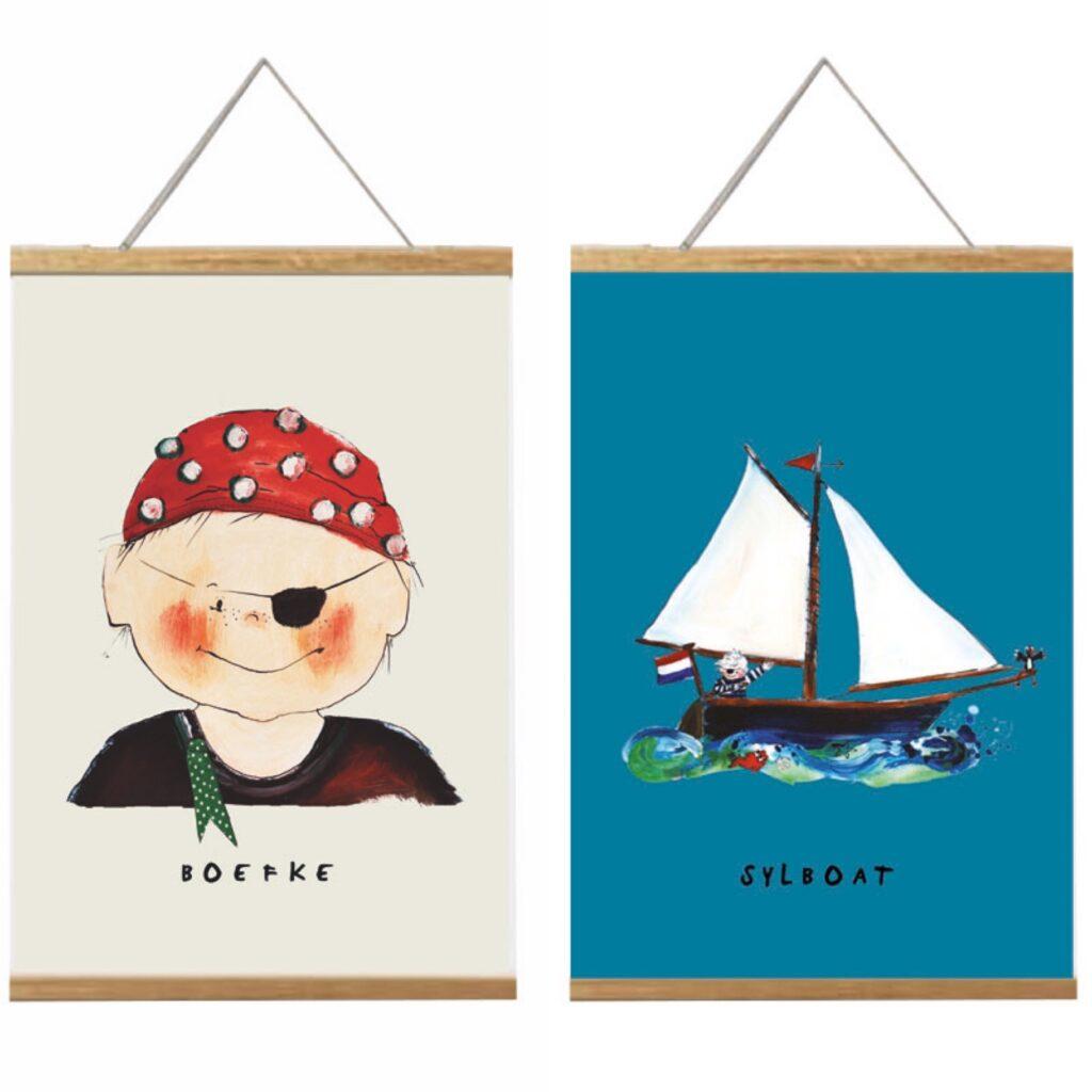 2 a4 posters naast elkaar voor de nautische kinderkamer