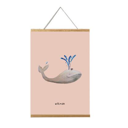 poster walvis 20x30 voor de kinderkamer in lijst