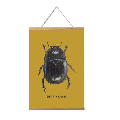 poster mestkever 20x30 voor de kinderkamer uit de serie met insecten. met lijst