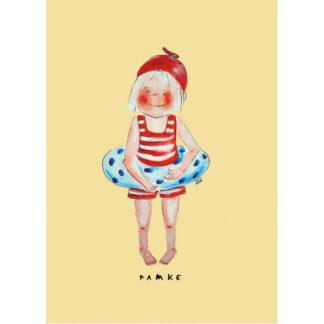 poster meisje 20x30 is een illustratie van een meisje met gestreept badpakje en zwemband. titel famke