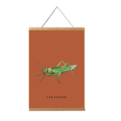 Poster sprinkhaan 20x30 in lijst van Atelier Pjut. Gershipper in het Fries