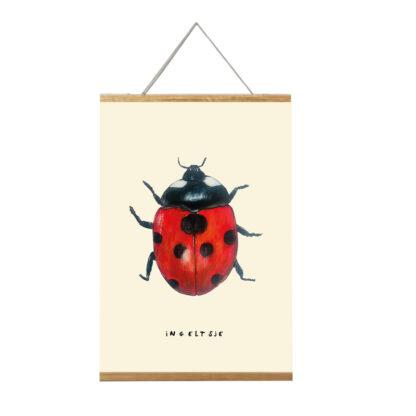 Poster lieveheersbeestje in lijst A4 formaat. Ingeltsje illustratie van Atelier Pjut