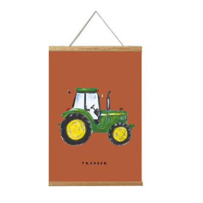 Poster 20x30 van John Deere tractor illustratie. In Lijst.