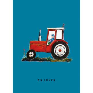poster rode tractor 20x30 cm van atelier Pjut.voor kinderkamer met boerderij thema