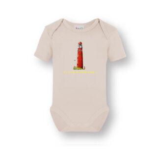Ecru romper met vuurtoren Schiermonnikoog. Een heerlijk zacht shirt van biologisch katoen met een illustratie uit eigen atelier.