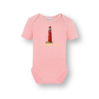 Roze romper met vuurtoren Schiermonnikoog. Een heerlijk zacht shirt van biologisch katoen met een illustratie uit eigen atelier.