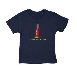 T-shirt met vuurtoren Schiermonnikoog . Lekker dun shirt van biologisch katoen. Voor kinderen van 2 tot 6 jaar