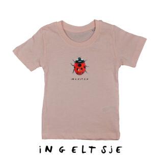 Roze T-shirt met lieveheersbeestje. van biologisch katoen voor kinderen in de maten 86, 92,98,104,110,116 en 122/128