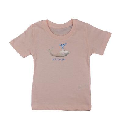 Poeder roze shirt met walvis van biologisch katoen voor kinderen. De illustratie is van Inge Adema van atelier Pjut