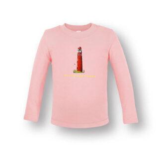 Babyshirt met vuurtoren Schiermonnikoog. gemaakt van biologische katoen in zacht roze kleur en lange mouwen. de Illustratie is van Atelier Pjut