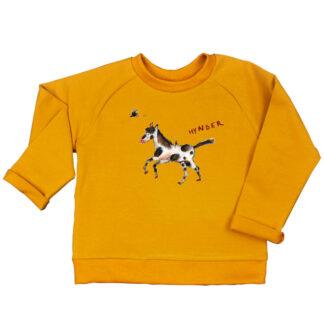 Oker sweater met stippelpaard van organic, biologisch katoen voor kind