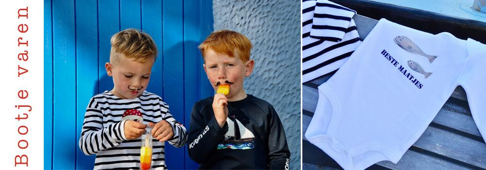 sfeerbeeld van de nautische kindercollectie van Pjut. Hier vind je rompers, shirts sweaters en tassen met een zeilboot, piraatof vrolijke walvis