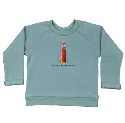 Sweater met vuurtoren Schiermonnikoog. Een lekkere warme sweater in mooie zeegroene kleur.