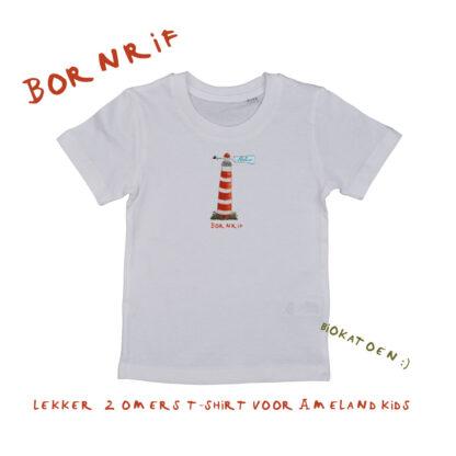 T-shirt met vuurtoren Ameland. Gemaakt van biokatoen en verkrijgbaar in 86/92, 98/104, 110/116 en 122/128