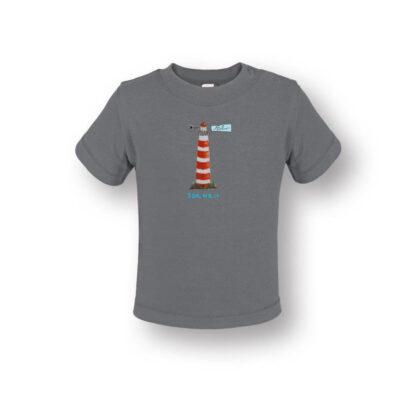 Baby T-shirt met vuurtoren Ameland van biologisch katoen. Met illustratie van eigen hand.
