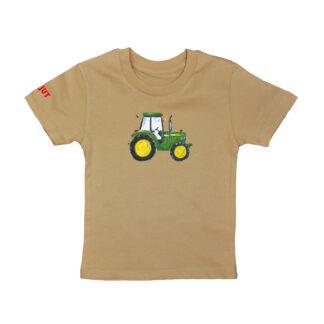 T-shirt met John Deere voor kinderen van 18 maanden tot 6 jaar. Basic camel kleur en van biologisch katoen.