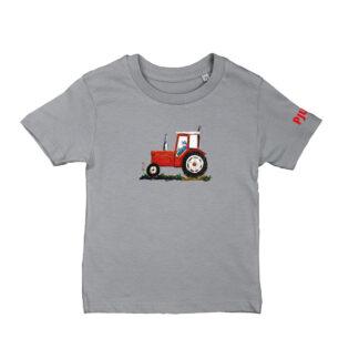 Grijs T-shirt met rode trekker voor kinderen van 2-6 jaar. Illustratie is van Inge Adema van atelier Pjut in Leeuwarden.
