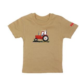 Camel T-shirt met rode trekker voor kinderen van 2-6 jaar. Van atelier Pjut in Leeuwarden, Friesland.