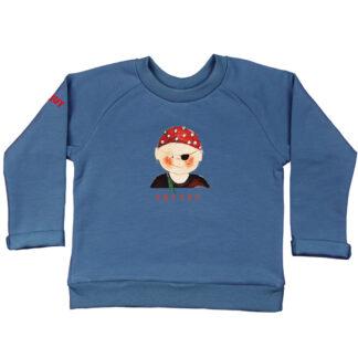 Blauwe sweater met piraatje van biologisch katoen en de friese tekst boefke erbij. Van atelier Pjut in Leeuwarden