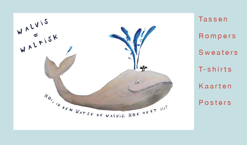 Watze de walvis op tassen, shirts, kaarten, posters en rompers voor baby's en kinderen