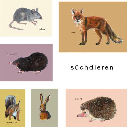 Friese ansichtkaarten van egel, vos, mol, haas, eekhoorn en muis