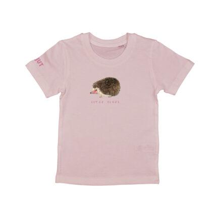 Zacht rose T-shirt egeltje voor kinderen van 2-7 jaar. Gemaakt van biologisch katoen. De illustratie is in acrylverf van atelier Pjut.