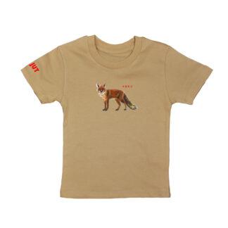 Camel T-shirt met vos. Illustratie van de vos is gemaakt door illustratrice Inge Adema. het shirt is van biologisch katoen.