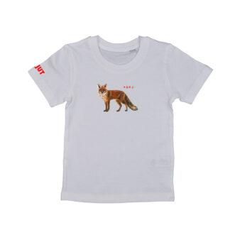 Wit T-shirt met vos. De illustratie is Inge Adema. Het shirt is gemaakt van biologisch katoen.